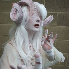 Last few of the Albino Demoness for now! Im so happy people like her and I Last few of the Albino Demoness for now! Im so happy people like her and Im definitely cooking something interesting up for my next Fantasy Makeup, Fantasy Art, Arte Obscura, Special Effects Makeup, Maquillage Halloween, Cosplay Makeup, Halloween Disfraces, Albino, Creature Design