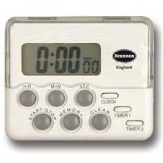 The dual timer features two 24 hour countdown timers and also a 12/24 hour clock display.