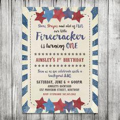 Fourth of July BBQ Invite  First Birthday by CherryBerryDesign