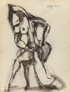 Jacques Lipchitz (French, 1891-1973) Untitled Ink wash on paper 14-1/4 x 11 inches (36.2 x 27.9 cm)