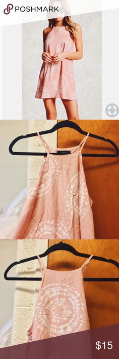 """🍒 NWOT 🍒 F21 Tie-Dye Swing Dress •Color Light Pink/Cream (no longer sold) •Size Small (waist 26-27)  •Full length: 33""""  •Hits a few inches above the knee so it's a super cute dress for spring and summer 💕✨ •NEVER worn! I bought this impulsively and just left it in my closet. When I finally decided to try it on, it just wasn't my taste and it was too late to return •Perfect condition other than light wrinkles from being folded in my drawer for a long time 💕 Forever 21 Dresses"""