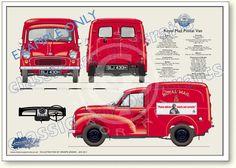 Morris Minor Royal Mail Van 1965-71 classic van portrait print Morris Minor, Royal Mail Post Office, Mini Morris, Old Lorries, Woody Wagon, Classic Mercedes, Old Classic Cars, Car Advertising, Car Posters