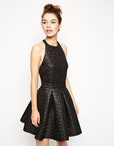 ASOS Quilted Metallic Skater Dress $123.18