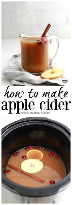 How to make apple cider. Apple cider is easy to make at home using fresh apples with or without a juicer. Keep your homemade apple cider warm in the slow cooker crockpot and the house will smell like fall. Crockpot Apple Cider, Homemade Apple Cider, Spiced Apple Cider, Spiced Apples, Fresh Apples, Vegan Slow Cooker, Holiday Drinks, Winter Drinks, Recipes