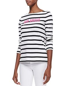 "Kate Spade Women's Roanne ""mon amour"" Striped Long Sleeve Top, Cream/Black (Small) kate spade new york http://www.amazon.com/dp/B00FK1NZRE/ref=cm_sw_r_pi_dp_Knngub0SBAPG1"