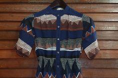 Vintage Kleider - Damen 70er Retro Kleid Indio Ethno L-XL 40-42 - ein Designerstück von Sascha-Liedert bei DaWanda