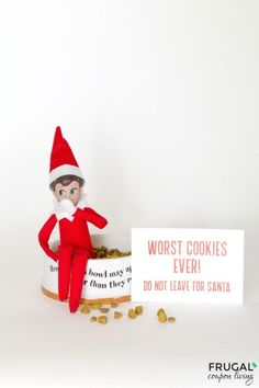 Worst Cookies Ever!  Are you following all of Frugal Coupon Living's Elf on the Shelf Ideas? See well over 100s of creative, funny, and original ideas for your Elf! Elf eats the dog food - worst cookies ever! Instant Download Printable. #elf #elfontheshelf #elfprintable #elfontheshelfideas #elfideas #printable