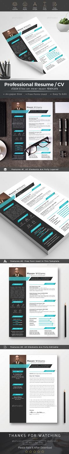#Resume-16 - Resumes #Stationery Download here: https://graphicriver.net/item/resume/19219377?ref=alena994