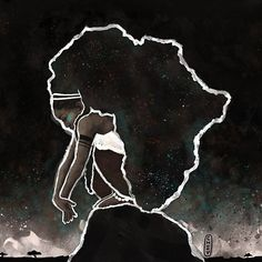 Africa Thinking by Cheyan Lefebvre  / available on RedBubble (tote bag, t-shirts, pillow...) #drawing #illustration #digitalart #art #painting #digitalpainting #africa #african #goddess #black #blackart #africa #african #goddess #queen #naturalhair #curly