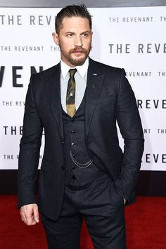 Something about a man in a suit. He's been down the gym, that waistcoat is almost bursting open... Tom Hardy suit handsome sexy.