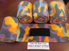 Take the Reins Farm Horse Polo Leg Wraps NEON CAMO print on Etsy, $16.00