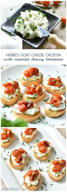 This herbed goat cheese crostini with roasted cherry tomatoes recipe make not only beautiful appetizers, but they're also so easy! A must for any great party. https://www.uglyducklinghouse.com/herbed-goat-cheese-crostini-roasted-cherry-tomatoes/?utm_campaign=coschedule&utm_source=pinterest&utm_medium=Sarah%20Fogle%20%7C%20The%20Ugly%20Duckling%20House&utm_content=Herbed%20Goat%20Cheese%20Crostini%20with%20Roasted%20Cherry%20Tomatoes