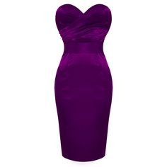 Sirens and Starlets Purple Satin Strapless Vintage Fitted Pencil Party Dress | eBay