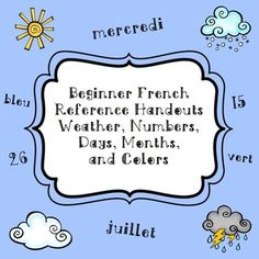 Beginner French Reference Handouts (Weather, Days/Months,