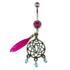 "Stainless Steel - Fuschia Cubic Zirconia Dream Catcher Dangling Feathers Belly Ring - 14g 7/16"" Length - Sold Individually WickedBodyJewelz - Belly Rings. $16.88"