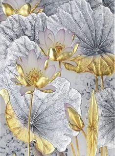 Arabesque, Acrylic Painting Flowers, Silk Art, Flower Pictures, Art Techniques, Japanese Art, Painting Inspiration, Creations, Achilles