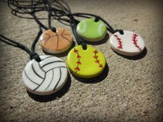 Essential Oil Diffuser Baseball Pendant for Boys, EO Sports Ball Ceramic Clay Necklace for Children, Baseball, Softball, Soccer Kids Gift