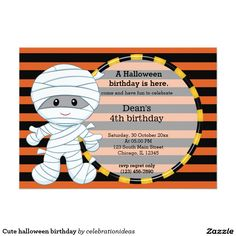 Sold #Cute #halloween birthday card #mummy #kids Available in different products. Check more at www.zazzle.com/celebrationideas