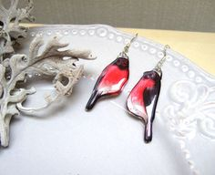 Resin Transparent Earrings Red Bullfinch Funny Earrings