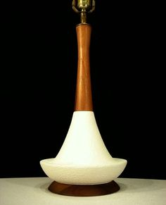 SCULPTURAL 60's Vintage DANISH MODERN Mid-Century LAVA Glaze/WALNUT TABLE LAMP