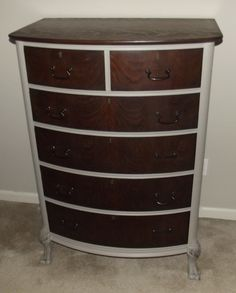 Chalk painted dresser with the drawers left stained