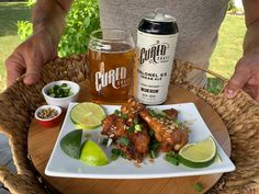Cured Craft Brewing Co. Colonel G's Cream Ale with Crispy Asian Chicken Wings. Chili Garlic Sauce, Hoisin Sauce, Asian Chicken Wings, Essex County, Complete Recipe, Lime Wedge, Rice Vinegar, Brewing Co, Wineries