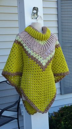 Hot Off My Hook! Project: Cowl Neck Poncho Started: 14 Sept 2016 Completed: 18 Sept 2016 Model: Madge the Mannequin Crochet Hook(s): 7mm Cowl Portion, K, Granny Stitch portion Yarn: Bernat Super Value,   I Love This Yarn, RedHeart Super Saver Color(s) Grass, Honey Pistachio, Oatmeal Pattern Source: Simply Crochet Magazine, Issue No. 25 (Hard Copy) Pattern Designed By: Simone Francis Notes: This is my 92cd Cowl-Neck Poncho!