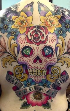 The excellent Mr Ben Stone from Lifetime Tattoo will again be gracing the Tattoo Tea Party with his traditionalisms :) Sugar Skull Design, Skull Tattoo Design, Tattoo Designs, Caveira Mexicana Tattoo, Tattoo Caveira, Calavera Tattoo, Mexican Skull Tattoos, Sugar Skull Tattoos, Mexican Skulls