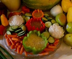 Veggie tray by my student, Noradel Fruits And Vegetables, Veggies, Food Carving, Vegetable Carving, Veggie Tray, Desert Recipes, Food Art, Watermelon, Deserts