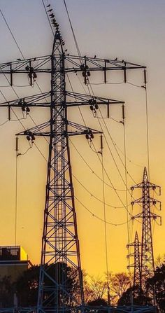 Sunset Transmission Tower, High Tension, Infinite, Utility Pole, Grid, Waves, Sunset, Urban Landscape, Towers