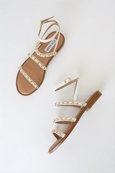 White, simple sandals for summer - Steve Madden Telsa strappy chain sandals in white multi, $80, Lulus - Check out more summer sandals on WeddingWire!