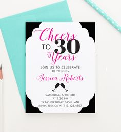 Cheers to 30 birthday invitations for women, Milestone birthday invitations for women, Personalized 30th birthday invitations