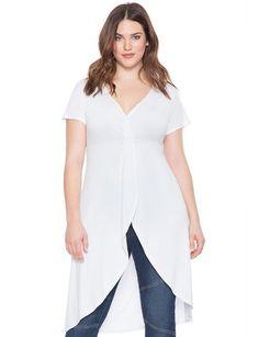 studio ponte double slit tunic | women's plus size tops | eloquii