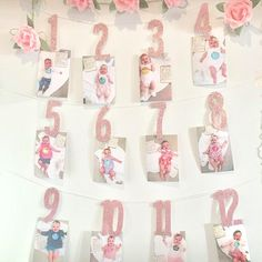WEIGAO Baby Birthday Photo Banner Star Heart Photo Garland with Clips Girl First Birthday 1 One Year Monthly Photo Props Party Banner, Birthday Photo Banner, Birthday Garland, First Birthday Decorations, Cake Banner, Happy Birthday 1, Baby Girl 1st Birthday, First Birthday Photos, First Birthday Parties