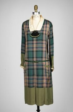 Green plaid silk or rayon dress with plain green sleeve and skirt hems and white collar, by Jean Patou, French, ca. 1926.