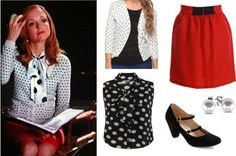 Get The Look of Glees Emma Pillsbury! Teacher Fashion, Teacher Outfits, Movie Outfits, New Outfits, Glee Fashion, Boho Fashion, Jayma Mays, Librarian Chic, Emma Style