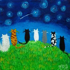 9 Cats on a hill