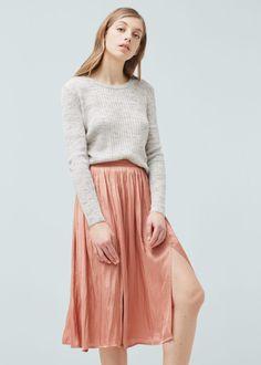 Midi satin skirt - Skirts for Woman   MANGO Lithuania