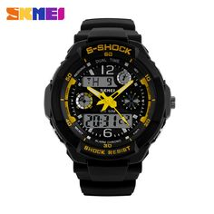 SKMEI Brand Children Sports Watches 50m Waterproof Fashion Casual Quartz Digital Watch Boys Girl LED Multifunction Wristwatches - Yellow Oh just take a look at this! Visit us