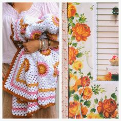 Not a pattern but could figure it out..  sunburst motifs and granny cluster edging...  Coco Rose Diaries Crochet Squares Afghan, Granny Square Blanket, Crochet Blocks, Granny Squares, Crochet Home, Love Crochet, Crochet Flowers, Coco Rose Diaries, Crotchet Patterns