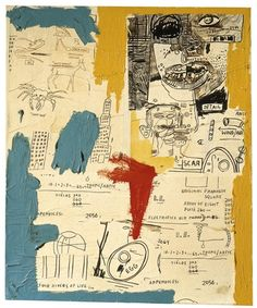 View Untitled (Four Rivers of Life) By Jean MichelBasquiat; acrylic and collage on canvas; Access more artwork lots and estimated & realized auction prices on MutualArt. Jean Basquiat, Jean Michel Basquiat Art, Basquiat Paintings, Basquiat Artist, Sgraffito, Nouveau Realisme, Neo Expressionism, Art Folder, Art Brut