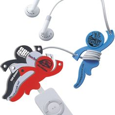 Meet Cordman. This #promotional cord wrap keeps ear-bud cords from getting tangled. #epromos