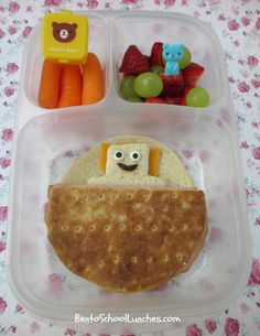 Bear under blanket bento #lunch. Packed in #EasyLunchboxes