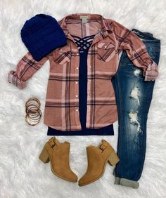 Penny Plaid Snap Flannel Top: Mauve from privityboutique