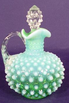 Vintage Fenton Lime Green Opalescent Hobnail Cruet.  Beautifully odd.