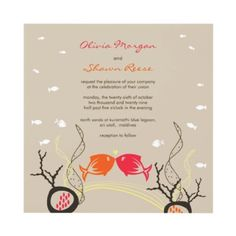 Kissing Fishes Coral Sea Wedding Invitation by fatfatin