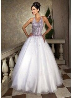 Elegant White Halter Sequins Embellishment Ball Gown Prom Dress