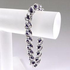 Chainmail Bracelet Purple Velvet Swarovski by HCJewelrybyRose on Etsy