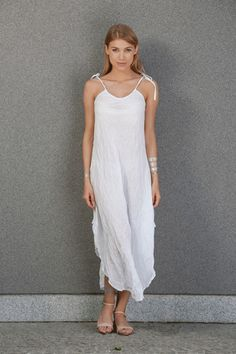 Sukienka Long White - Bright-Boho - Sukienki na ramiączkach