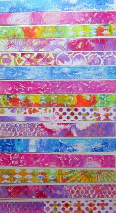 Washi Tape Gel Prints ****m.map ideas,projects,any & all possible material,etc. Washi Tape, Gelli Plate Printing, Gelli Arts, Art Journal Inspiration, Journal Ideas, Art Journal Pages, Art Journaling, Plate Art, Tape Crafts